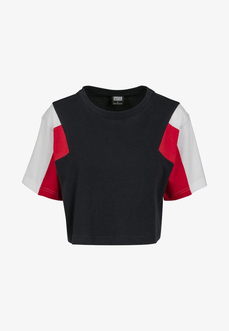 Urban Classics Curvy - 3-TONE SHORT - T-shirt print - navy/white/fire red