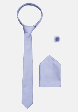 WEDDING PLAIN WITH MATCHING FLOWER PIN SET - Tie - purple