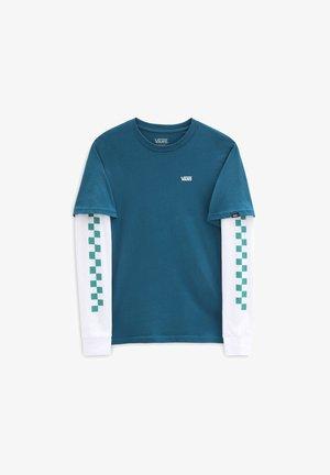 BY LONG CHECK TWOFER BOYS - Long sleeved top - mottled blue, white
