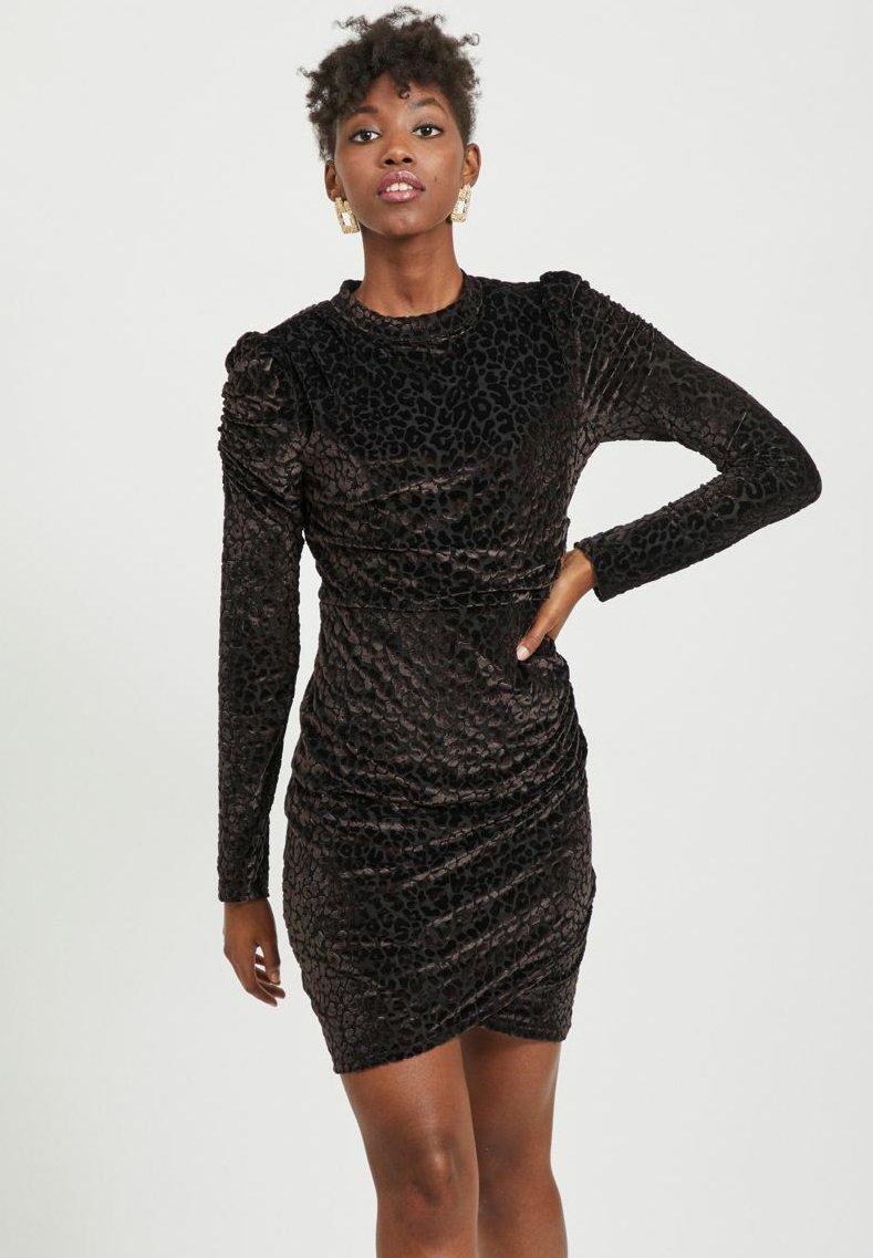 Vila - LEOPARDEN SAMT - Cocktail dress / Party dress - black