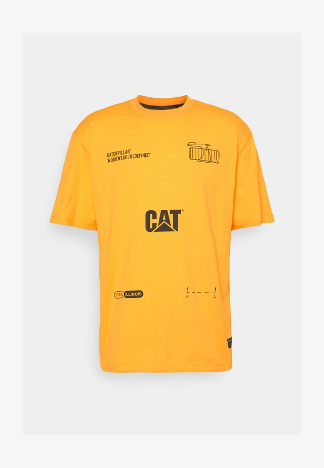CAT MACHINERY TEE - T-shirt con stampa - cat yellow