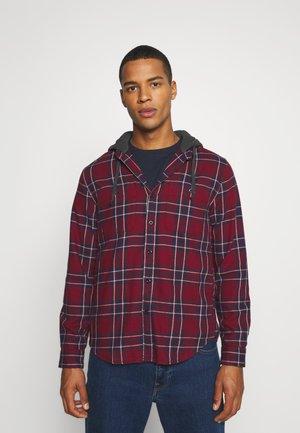 HOODED PLAID - Shirt - burgundy