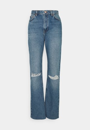 HIGH WAIST RAW HEM DESTROYED - Relaxed fit jeans - blue