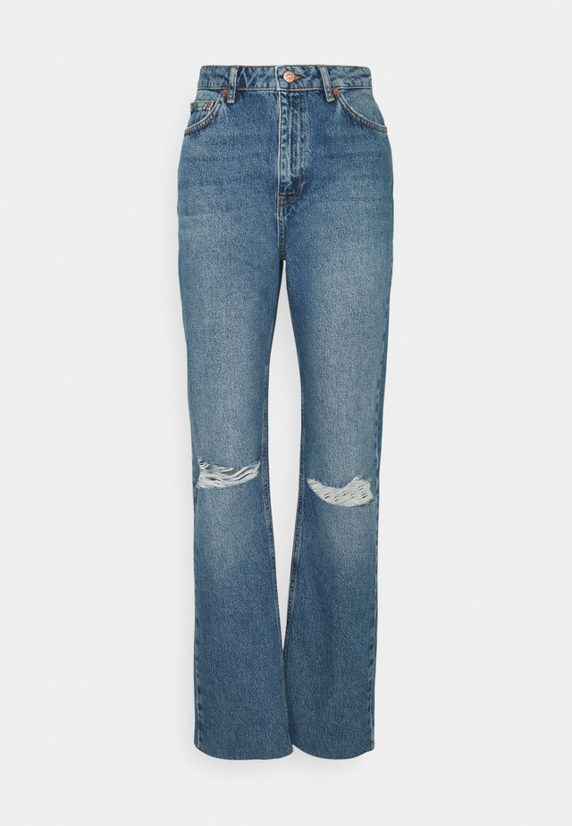 HIGH WAIST RAW HEM DESTROYED - Jeans relaxed fit - blue