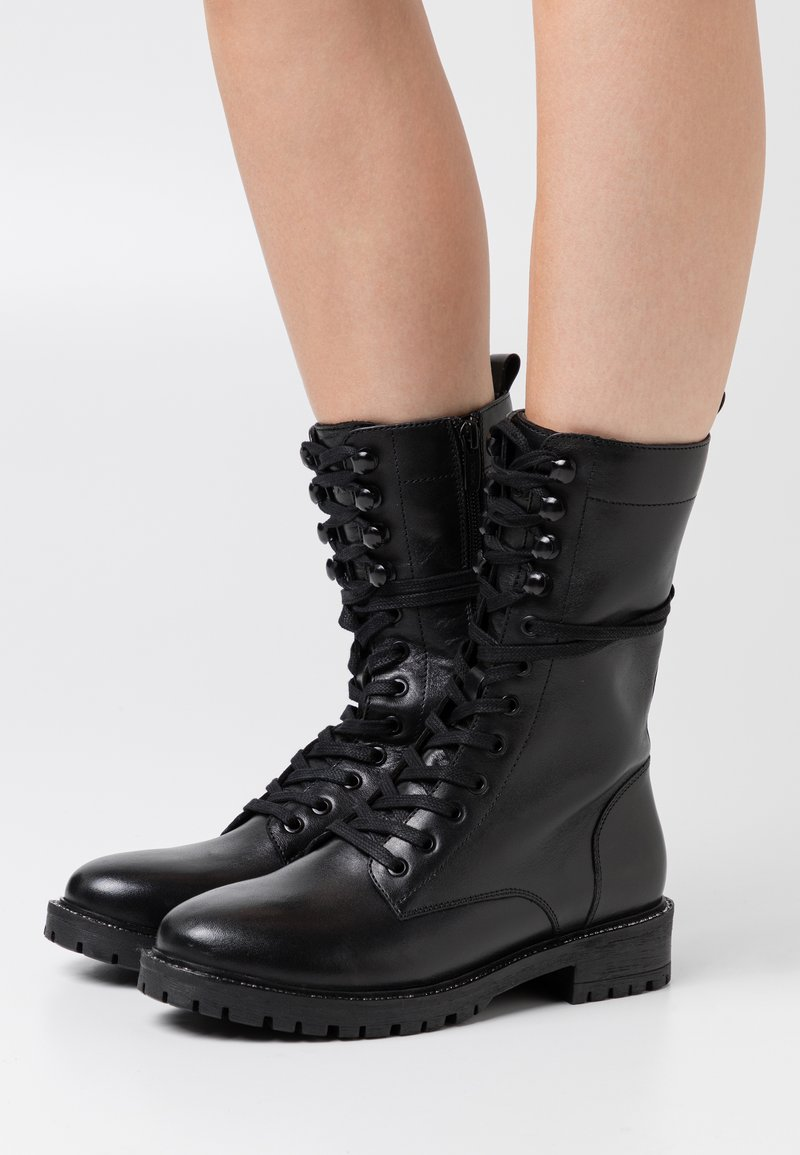Mexx - DENA - Šněrovací vysoké boty - black