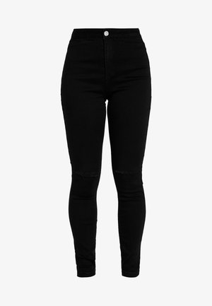VICE HIGHWAISTED SLASH KNEE - Skinny džíny - black