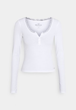 BUTTON THRU HENLEY - Long sleeved top - white