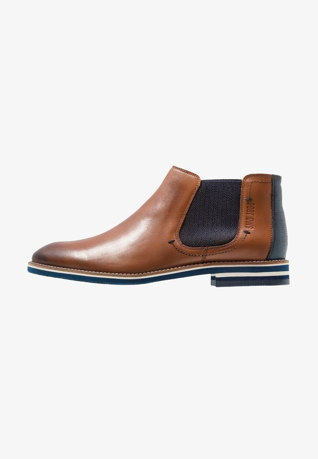 VASCO - Classic ankle boots - cognac/navy