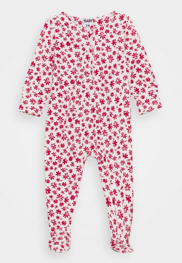 THE LONG SLEEVE ZIP ROMPER UNISEX - Sleep suit - vanilla/lucky red