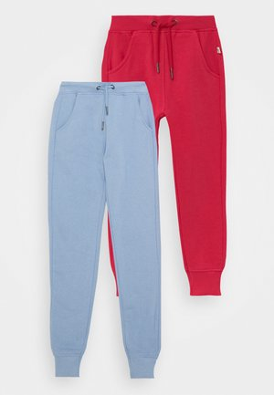 KIDS BASIC 2 PACK - Tracksuit bottoms - hochrot/nachtblau