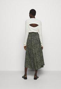 Proenza Schouler White Label - PRINTED TIE WAIST SKIRT - A-line skirt - black/spanish moss - 2