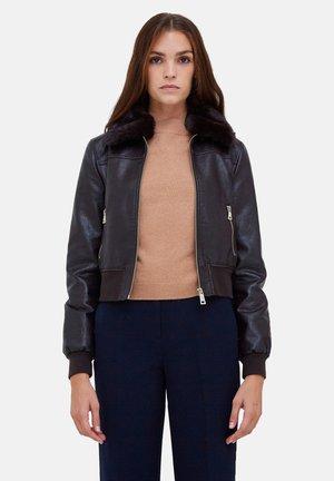 Faux leather jacket - marrone