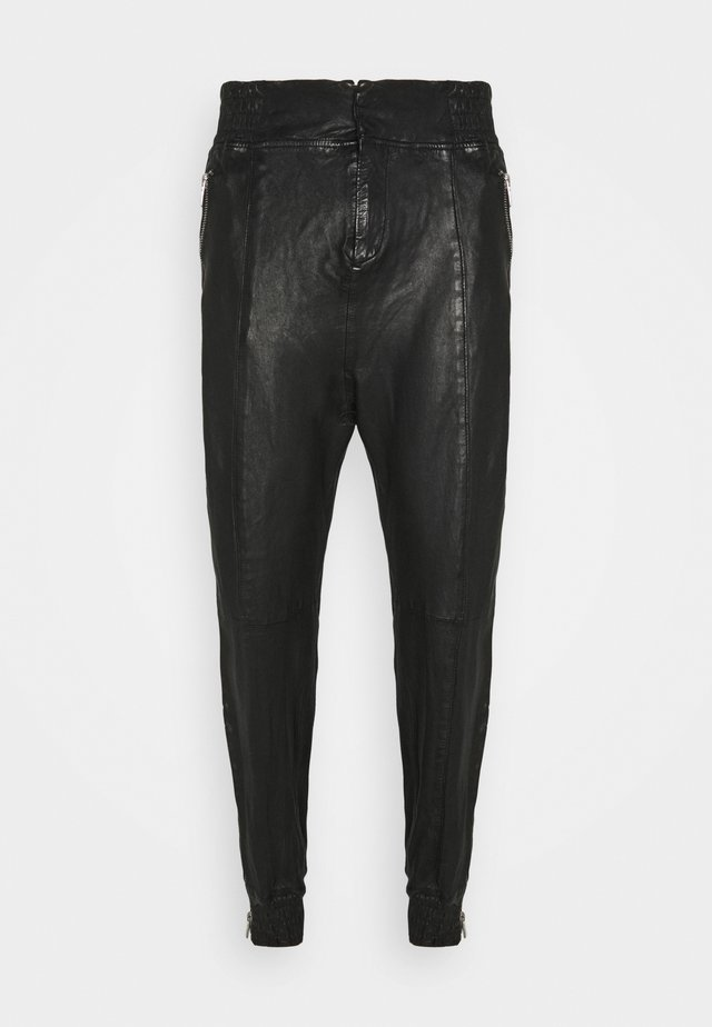 BEMARIUS - Leather trousers - black
