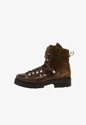 FRANKA  - Lace-up ankle boots - khaki croc