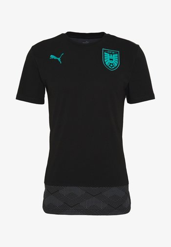 ÖSTERREICH ÖFB CASUALS TEE - T-shirt med print - black/blue turquoise