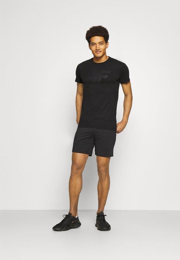 4F HERREN FLEMMING - T-shirt z nadrukiem - black/czarny Odzież Męska DQZF