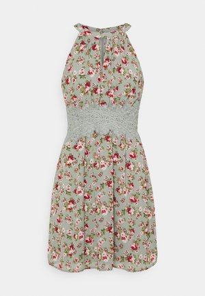 VIMILINA FLOWER DRESS - Juhlamekko - green milieu/red/pink