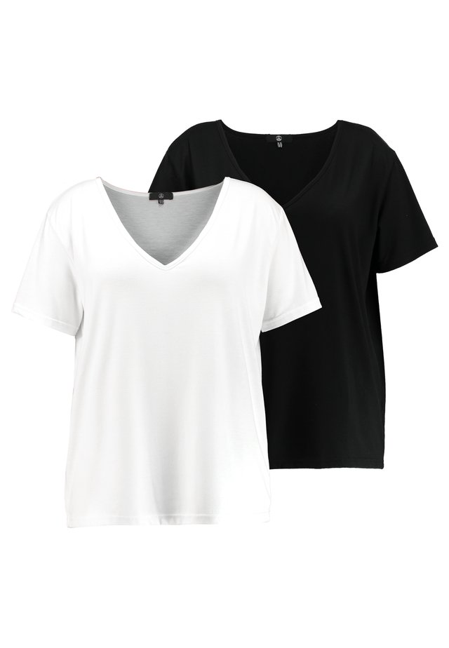 CURVE V NECK 2 PACK - T-shirt print - white/black