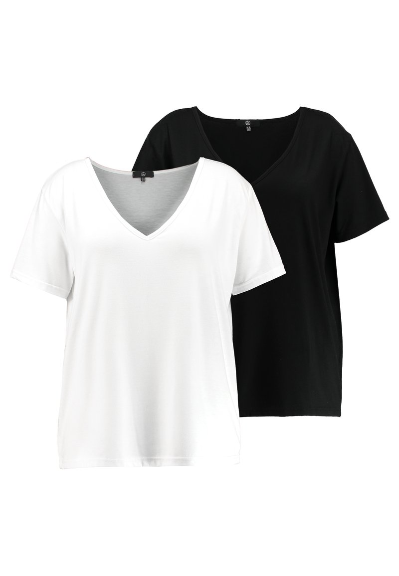 Missguided Plus - CURVE V NECK 2 PACK - Print T-shirt - white/black