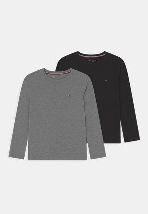TEE 2 PACK - Langarmshirt - medium grey heather/black