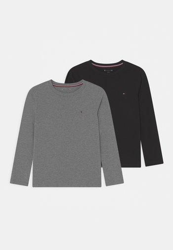 TEE 2 PACK - Bluzka z długim rękawem - medium grey heather/black