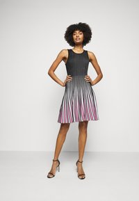 Milly - GODET STRIPE FIT AND FLARE - Cocktail dress / Party dress - black/multi - 1