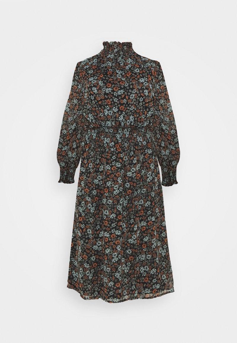 Simply Be - HIGH NECK SHIRRED WAIST MIDI DRESS - Day dress - black