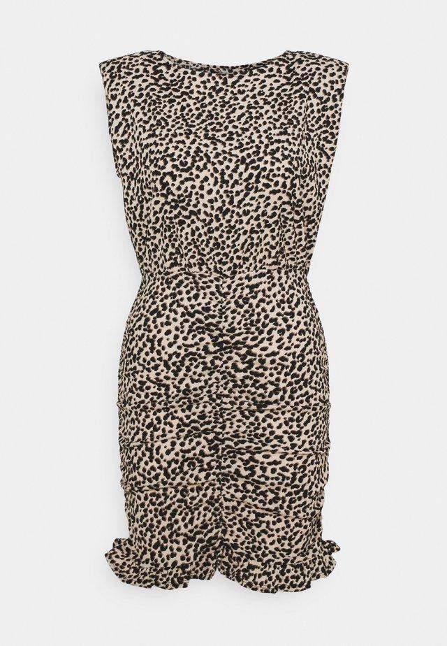 SHOULDER PAD RUCHED DRESS - Day dress - beige/black