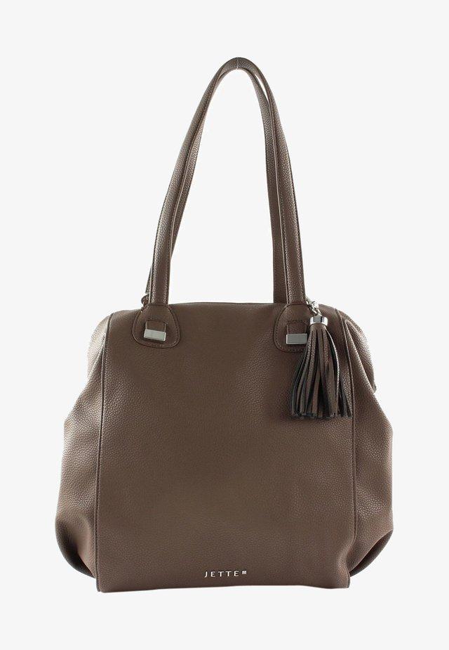 Handbag - truffle / shiny silver
