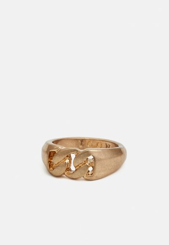 CURB CHAIN FRONT SIGNET SHAPE - Ring - gold-coloured