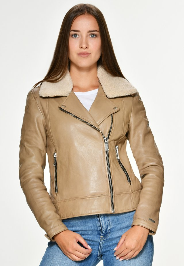 MERCURY - Leather jacket - beige