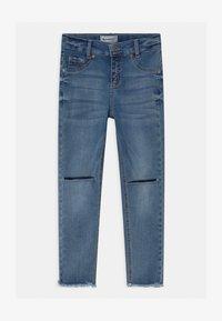 Blue Effect - GIRLS HIGH WAIST CROPPED ULTRASTRETCH KNEE CUT OPEN SEAM - Jeans Skinny Fit - medium blue - 0
