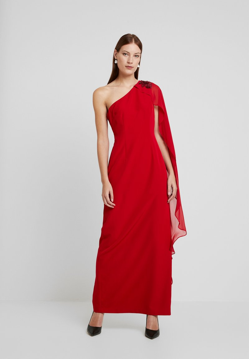 Adrianna Papell - ONE SHOULDER CAPE COLUMN GOWN - Iltapuku - cardinal