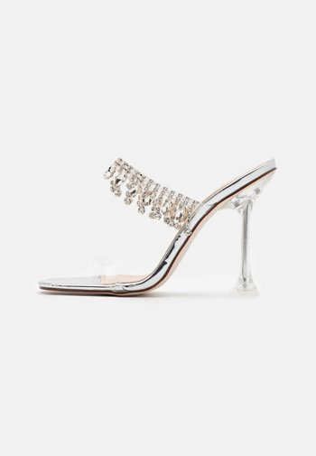 MADEIRA - Heeled mules - clear/silver metallic