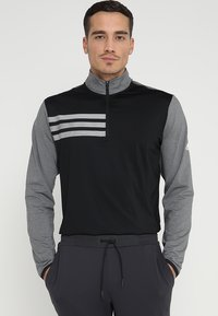 adidas Golf - 3 STRIPES COMPETITION 1/4 ZIP - Långärmad tröja - black heather/black - 0