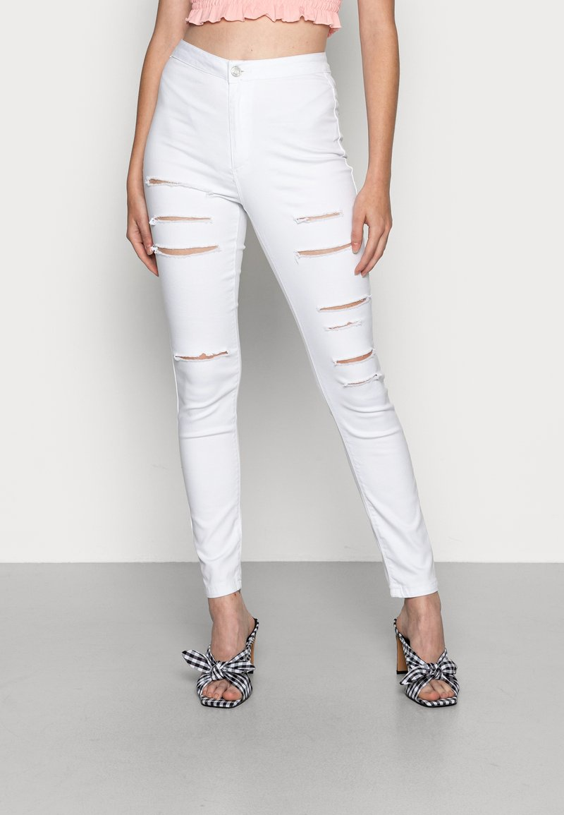 Missguided - MULTI VICE HIGH WAIST - Jeans Skinny Fit - white