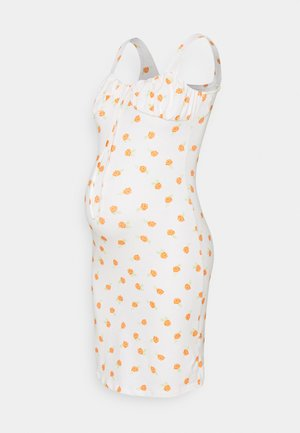 LADIES DRESS ROSE - Žerzejové šaty - white/orange