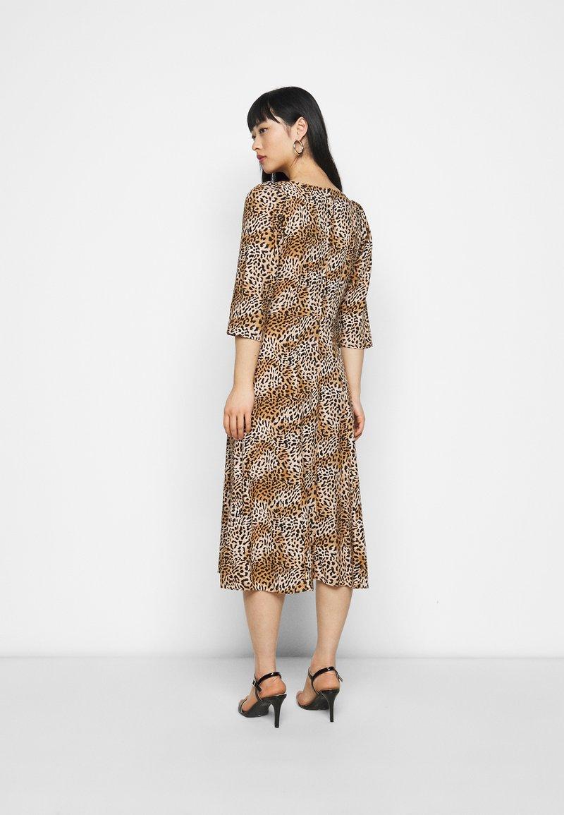 Dorothy Perkins Petite - ANIMAL SQUARE NECK MIDI DRESS - Day dress - brown