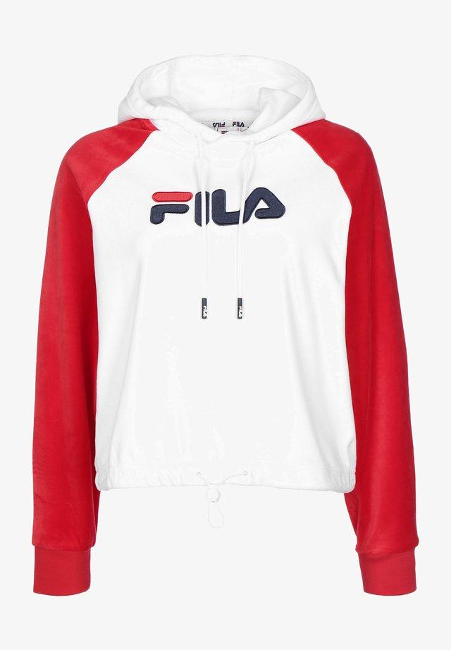 Felpa con cappuccio - bright white/true red
