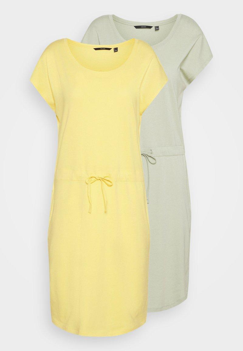 Vero Moda Tall - VMAPRIL SHORT DRESS 2 PACK - Jersey dress - desert sage/cornsilk