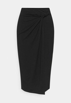 CLASSIC Front knot midi skirt - Pencil skirt - black