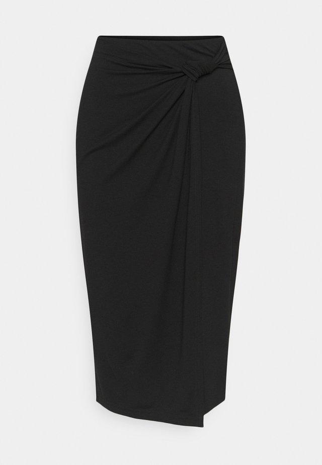 CLASSIC Front knot midi skirt - Pennkjol - black