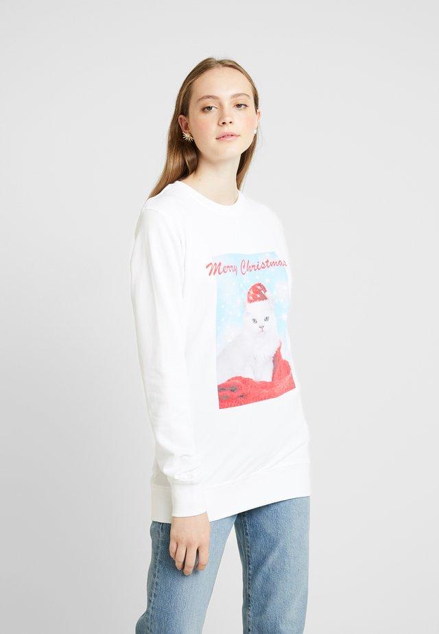 LADIES MERRY CHRISTMAS CAT CREWNECK - Sudadera - white