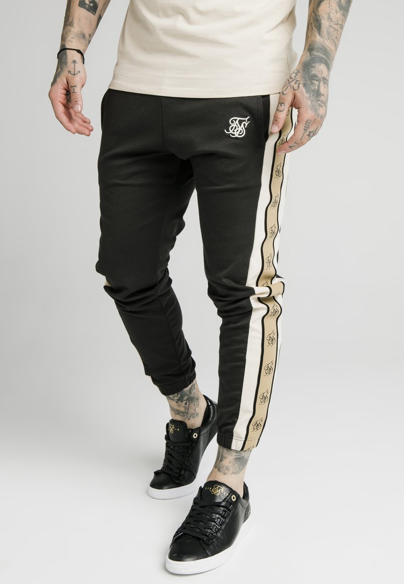 SIKSILK - PREMIUM TAPE TRACK PANT - Tracksuit bottoms - black/off white