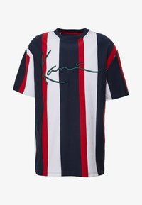 Karl Kani - UNISEX SIGNATURE STRIPE TEE - Print T-shirt - navy/red/white - 4