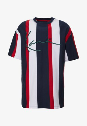 UNISEX SIGNATURE STRIPE TEE - Triko s potiskem - navy/red/white