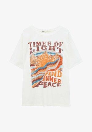 MIT RETRO-GRAFIK - Print T-shirt - mottled beige