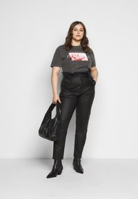 Missguided Plus - PAPERBAG WAIST - Trousers - black - 1