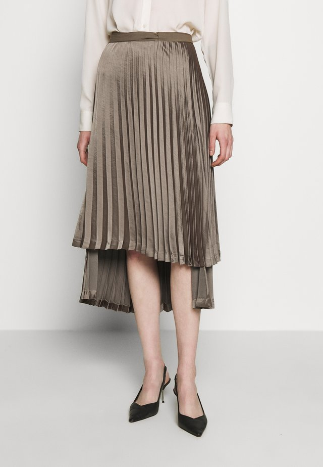 PIPER PLEATED MIDI SKIRT - Jupe trapèze - olive