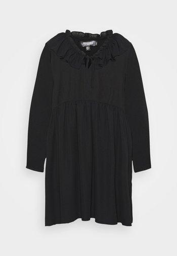 FRILL NECK LONG SLEEVE SMOCK DRESS